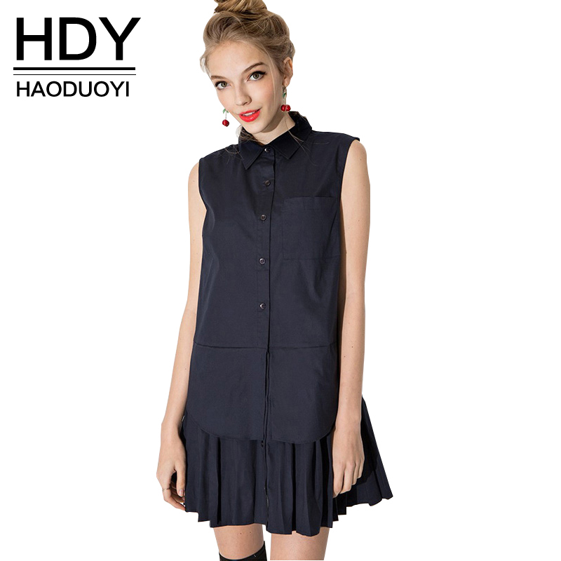 HDY Haoduoyi 2017 Summer Fashion Women Preppy Style Mini Dress Pleated Insert Turn Down Collar Sleeveless