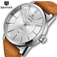 BENYAR Quartz heren Horloges Fashion Business/Waterdicht/Sport Horloge Mannen Lederen Dubbele Kalender Horloges Relogio Masculino-in Quartz Horloges van Horloges op