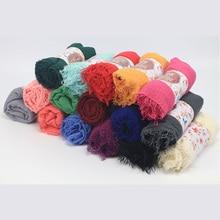 Women Cotton Plain Wrinkled Hijab / Scarf