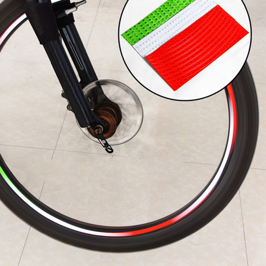 Dewtreetali Fluorescent MTB Bike Bicycle Motorcycle Wheel Tire Tyre Reflective Stickers Decal Tape Safety Silver For Bike