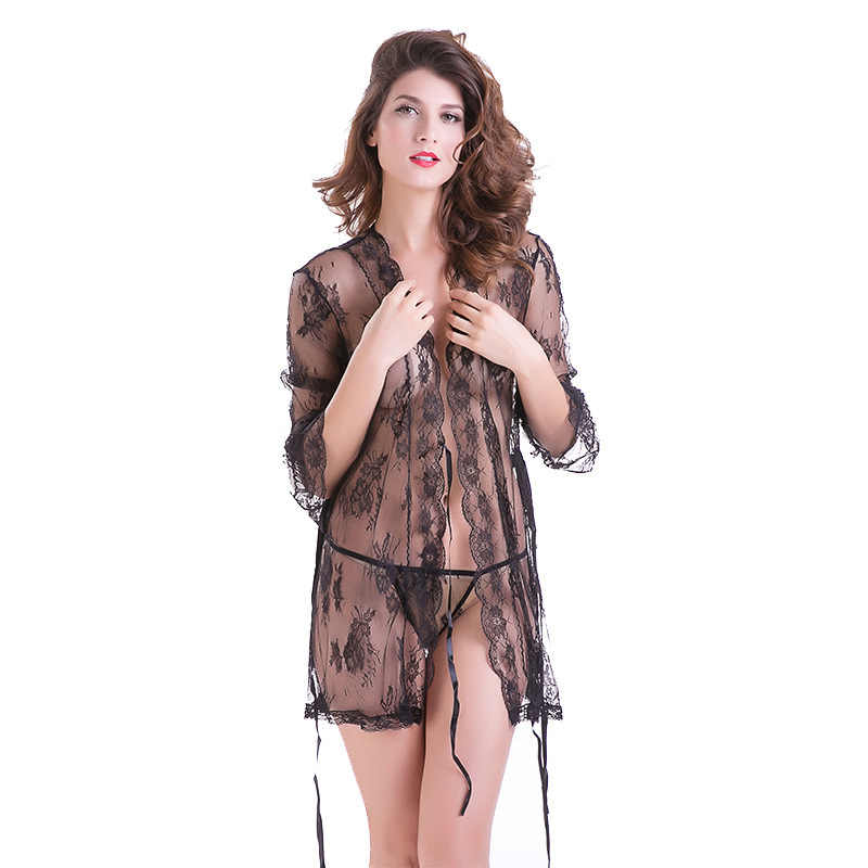 4483b54b0e Sheer robe Femme Sexy Transparent Robes with lace Bathrobes kimono  Nightwear bridesmaid bath robe plus size
