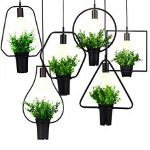 hot deal buy retro iron originality pendant lights plant art restaurant living room simple pot parlor study multiple shapes pendant lights