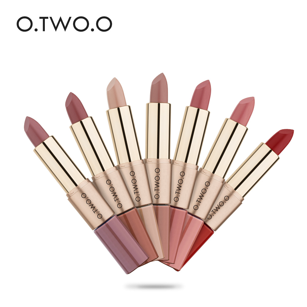O.TWO.O 12PCS / LOT 2 i 1 Matte läppstift Makeup Vattentät långvarig läppglans flytande läppstift 12 färger naken läpp läppstift