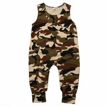 Baby Girls Boys Harem Rompers Girl Boy Summer Camouflage Jumpsuit Kids Cotton Sleeveless Tank Romper Kids Playsuits Overalls(China)
