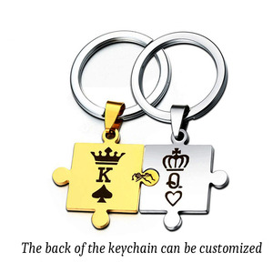 1 Pair Customized Keychain Engraved Crown King Queen Poker Spades Letters K Q Keyring Couples Women Men Boyfriend Gift Key Fob(China)
