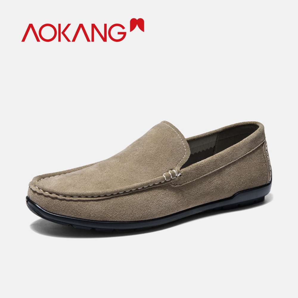 AOKANG 2019 Spring Loafers Slip On Breathable Casual Shoes Men Genuine Leather Chaussure Homme Plus Comfortable shoes men-in Men's Casual Shoes from Shoes    2