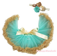 Aqua Blue Goldenrod Infant Newborn Baby Girl Pettiskirt Dance Tutu Dress 3 12M MADRE0066
