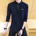 Autumn new long-sleeved POLO shirt male Slim British casual lapel solid color shirt tide teenagers