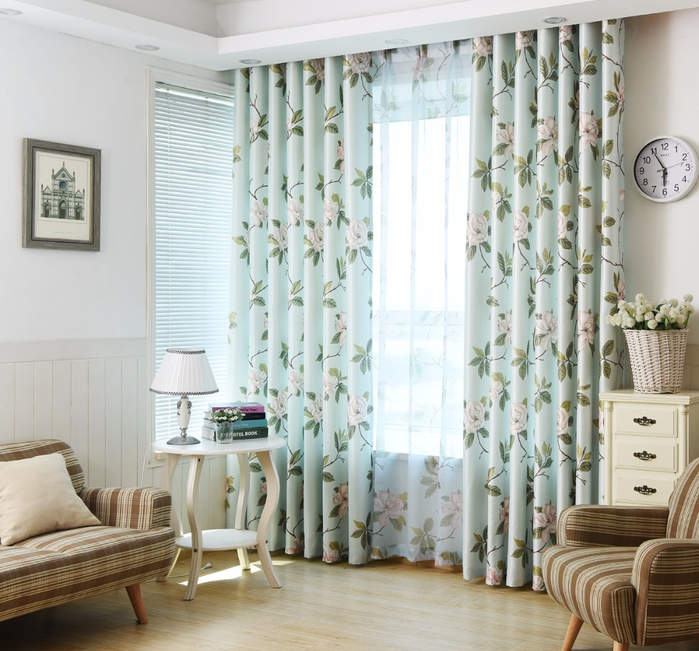 Pink Floral Green Leaves Printed Window Curtains for Living Room ...