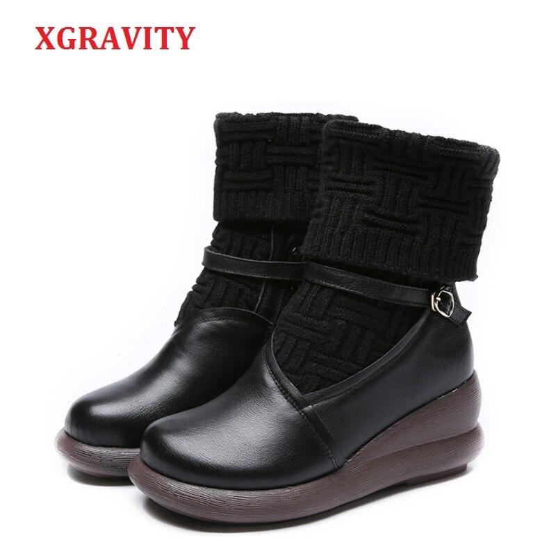 XGRAVITY 2019 Warm Ankle Short Women Boots Elegant Genuine Leather Vintage Lady Fashion Boots Vintage Ethnic Ladies Shoes A055