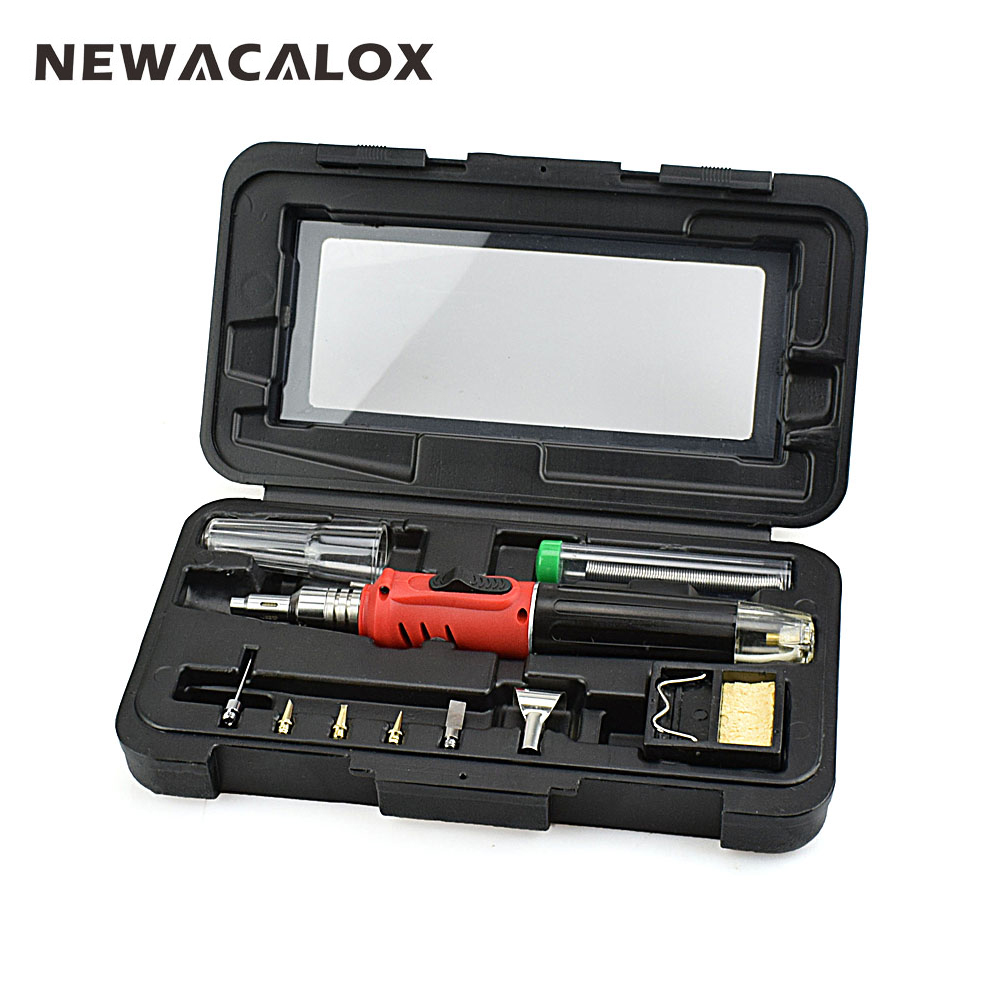 NEWACALOX 10 in 1 Professional Butane Gas Soldering Iron Set Cordless Welding Torch Equipment Kit Hand Tools with Storage Box