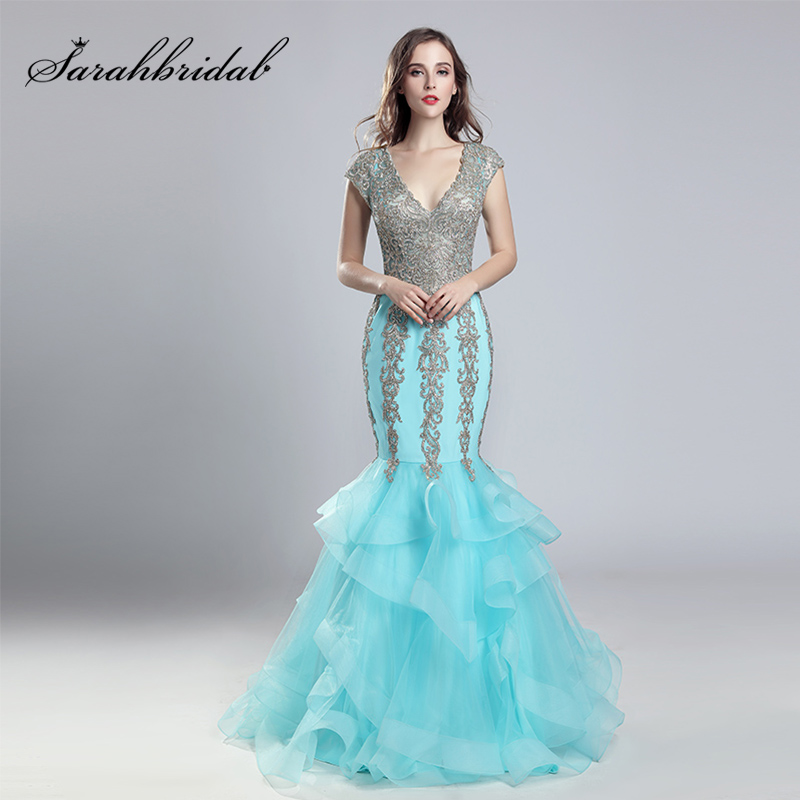 Sexy Illusion Long Lace Appliques Mermaid   Evening     Dresses   Tulle V-Neck Cap Sleeve with Ruffles Skirt Prom Party Gowns OL556