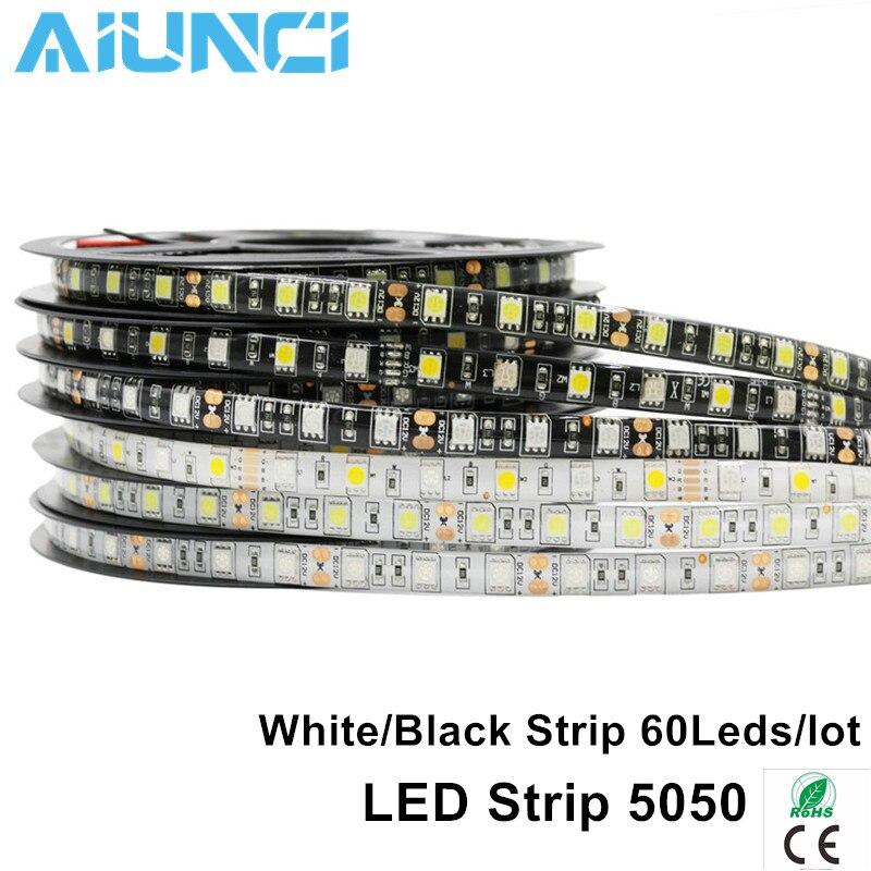 LED Strip 5050 RGB Black PCB DC12V Flexible LED Light 60 LED/m5050 LED Strip Waterproof RGB/White/Warm White/Blue/Green/Red solar powered 6w 100 led rgb light water resistant flexible tube light white black