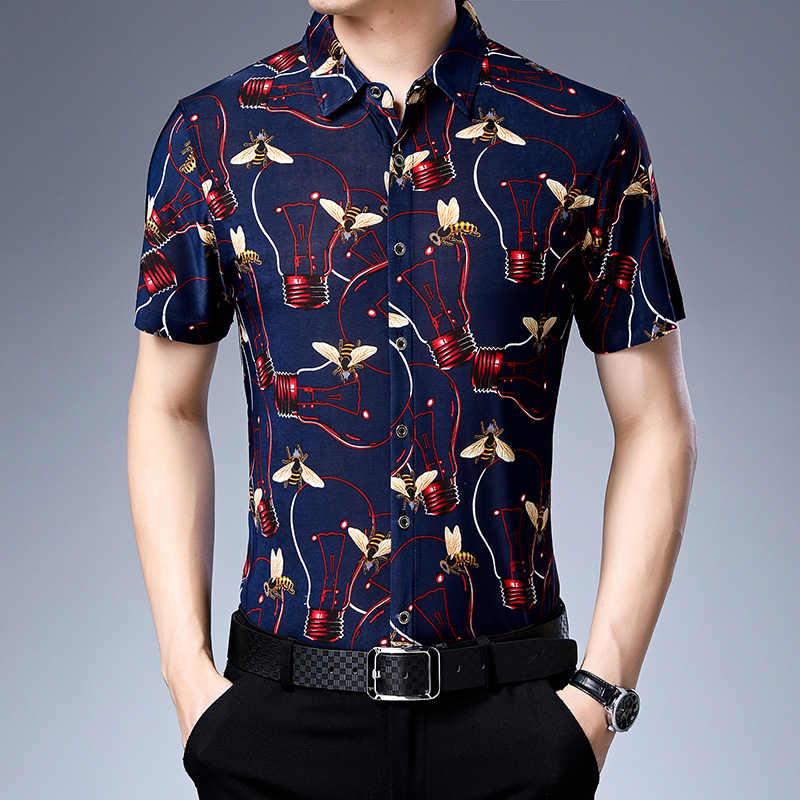 Miacawor Новый Пляж гавайская рубашка с модным принтом Camisa Masculina Узкий крой, на лето короткий рукав Повседневная для мужчин C461