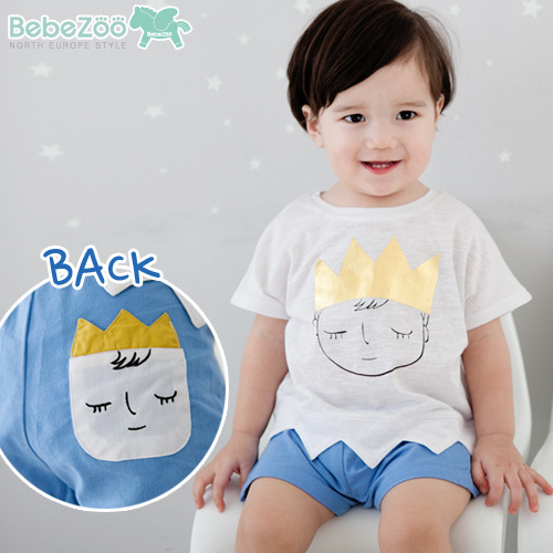 2PCs per Set New Blue Little Boy Summer Outfits Prince with Crown Pattern Tshirt and Shorts Free Shipping