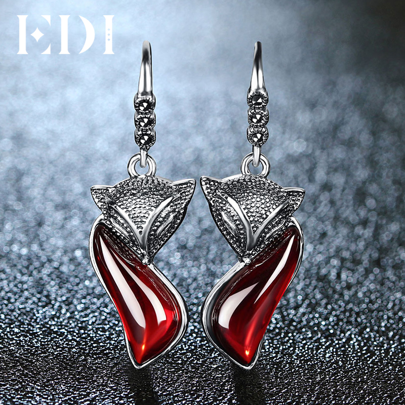 EDI Fox Animal Garnet 100% 925 Sterling Silver Drop Earrings For Women Trendy Jewelry edi trendy swan shape animal 100% 925 sterling silver rings for women ctue jewelry christmas gifts