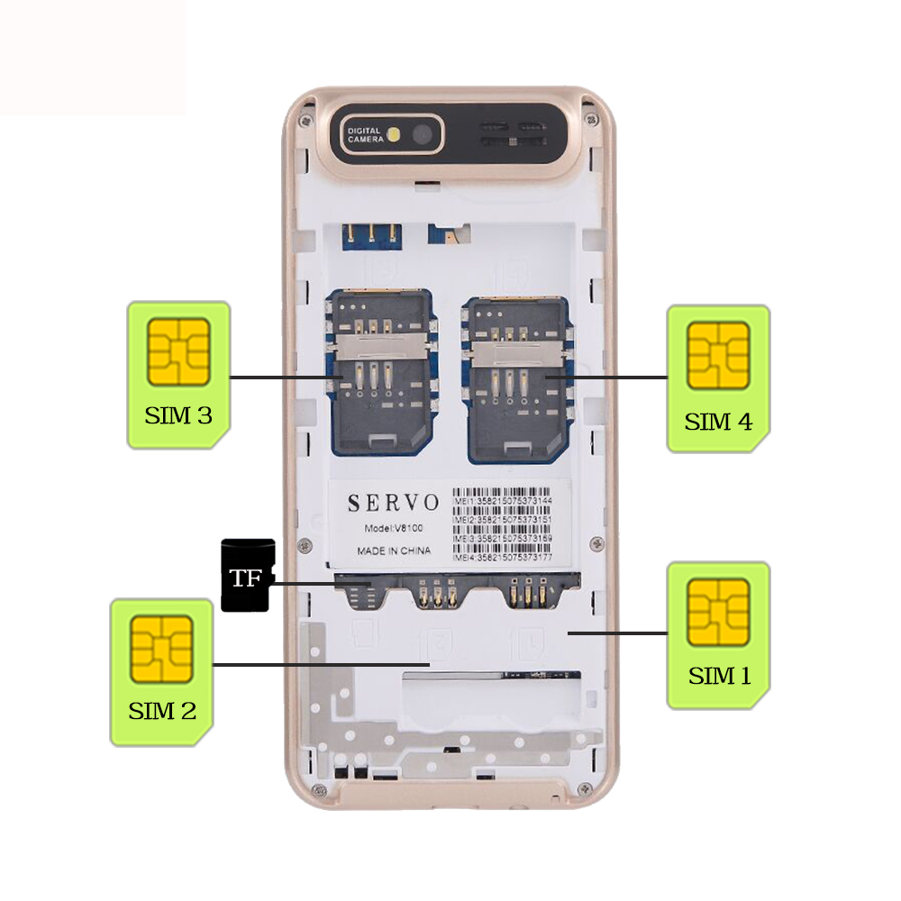 Image 5 - Quad Sim Cell phone Quad Band 2.8 inch 4 SIM cards 4 standby Phone Bluetooth Flashlight MP3 MP4 GPRS Russian Language keyboard-in Cellphones from Cellphones & Telecommunications
