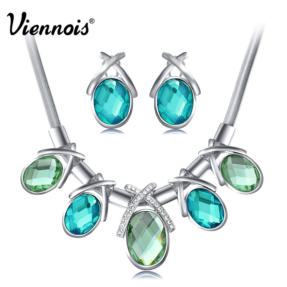 VIennois Silver Color Jewelry Set for Woman Ocean Blue Crystal Earrings Necklace Jewelry Set Wedding Bridal Jewelry Sets