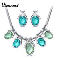VIennois Elegant Ocean Heart Oval Crystal Rhinestone Earrings Necklace Jewelry Set New Free Shipping