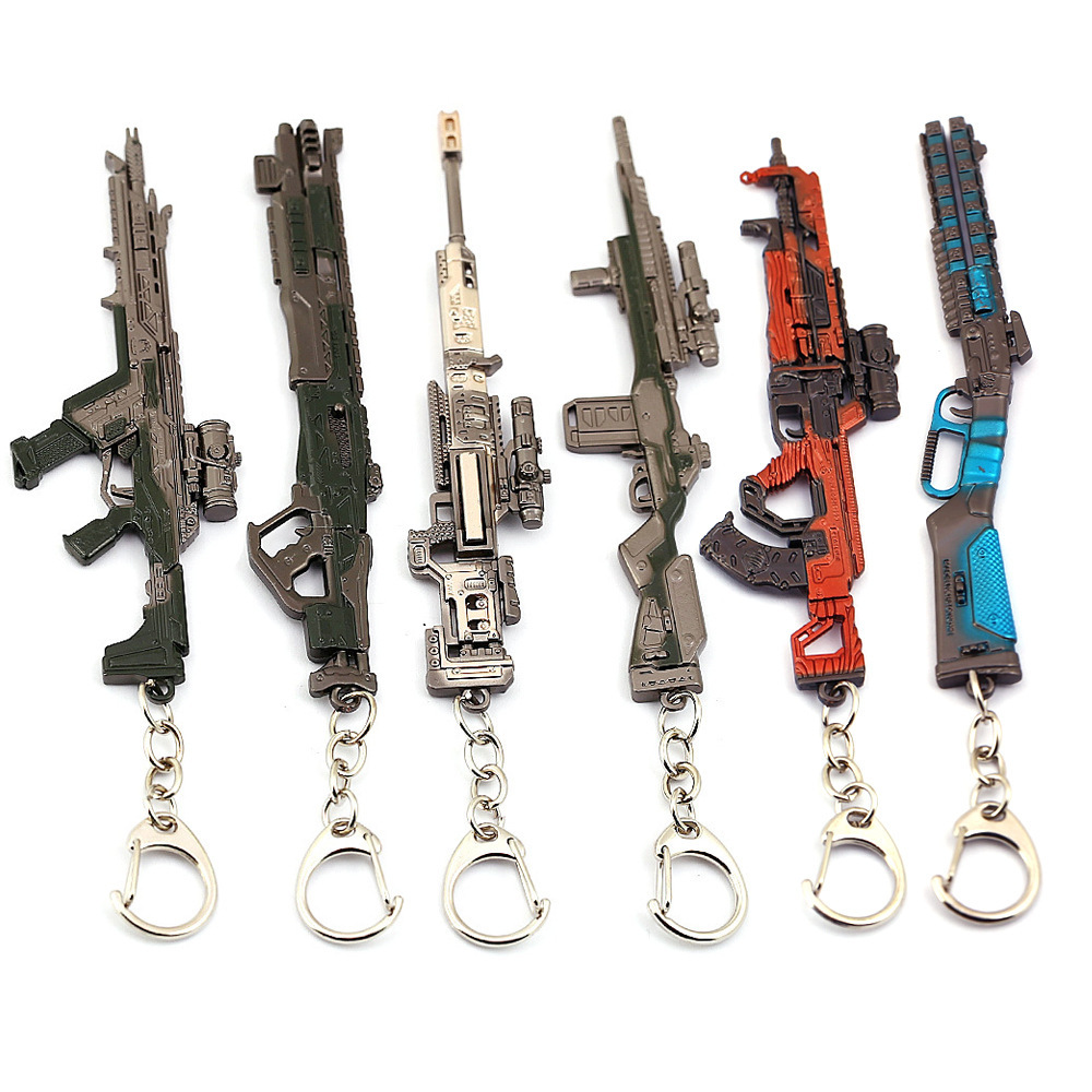 New PUBG APEX LEGENDS Key Chain Gift Gun Model Keychains Male Cool Game Metal Key Chain Creative Car Simulation Keyring Jewel
