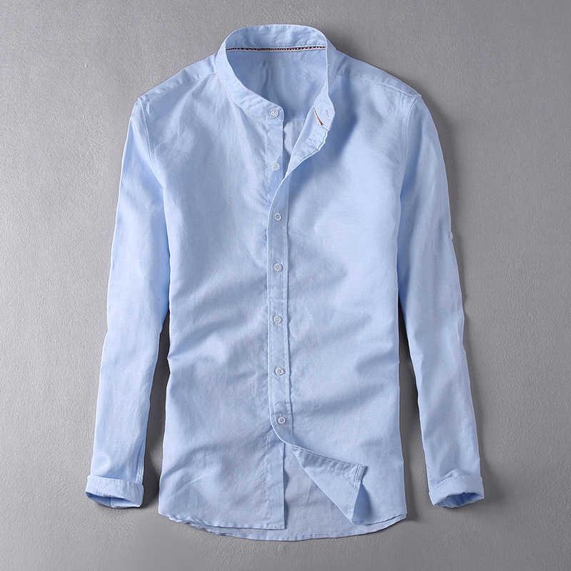 52980edcc4bec58 ... Новые льняные рубашки мужские повседневные тонкие однотонные рубашки с  длинным рукавом человек дышащая белая рубашка CHEMISE ...