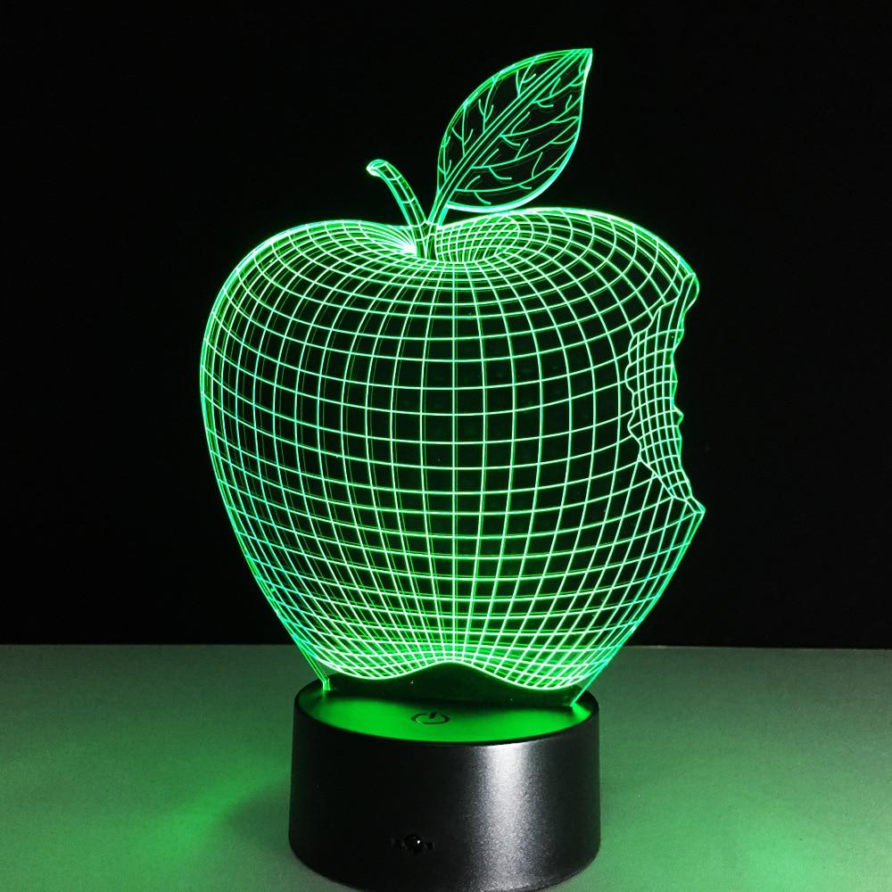 Home Decor 1Piece 3D APPLE NIGHT LAMP Acrylic Wood Mood Lamp Bulbing Light For Bedroom
