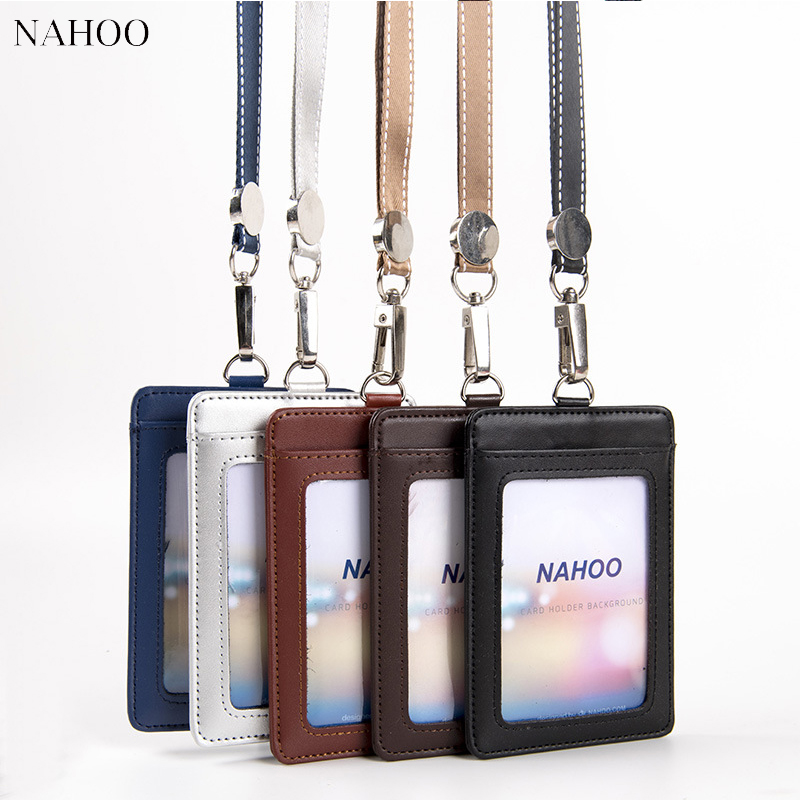NAHOO Lanyard Id Badge Clip Name Label Plastic Badge Leather Card Holder Vertical Credit Card Bus Card Holder Office Supplies kitavt75417unv10200 value kit advantus id badge holder chain avt75417 and universal small binder clips unv10200