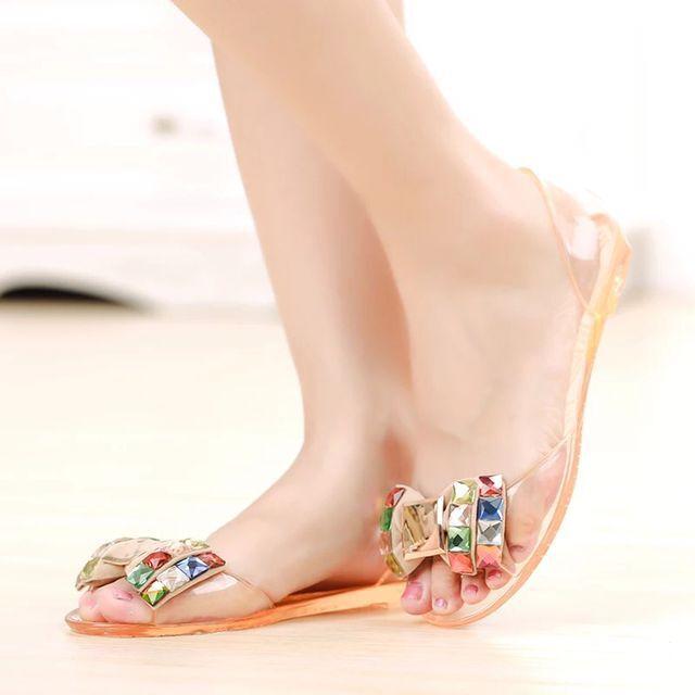Diamond color drill mouth plastic glass women slipper flat girl waterproof transparent beach sandal women glass girl