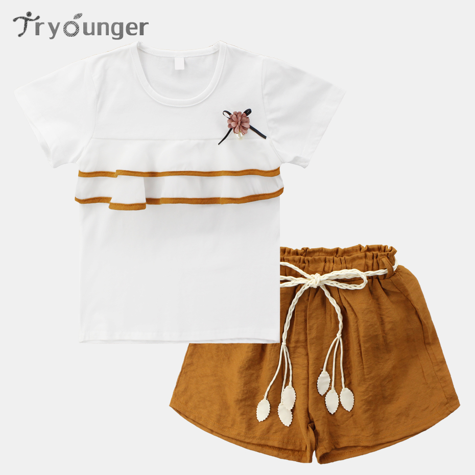 Summer Kids Clothes Casual Set Girl Shirt+Short Pants 2 Pcs Kids Clothes Girls Teenage Clothing For Teens 4 6 8 10 12 13 Years baby girl summer clothes 2018 kids girls clothes set two pcs t shirt striped shirt 5 6 8 10 12 year girls boutique outfits