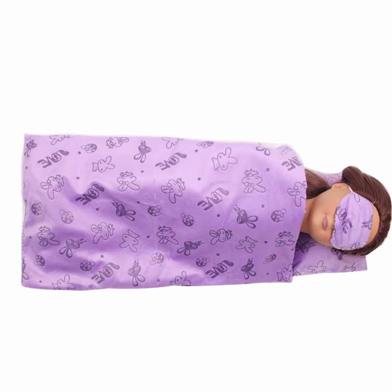 Dolls accessories 3 Sleeping suit little bed quilt pillow eye mask fit American 18 inch Girl doll and 43 cm baby doll c293