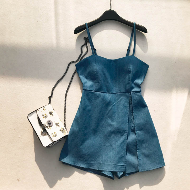 NiceMix Korean Fashion Clothing Denim Rompers Womens Jumpsuit Shorts New Casual Loose Solid Color 2019 Playsuits Summer