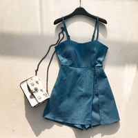 NiceMix Korean Fashion Clothing Denim Rompers Womens Jumpsuit Shorts New Fashion Casual Loose Solid Color 2019 Playsuits Summer