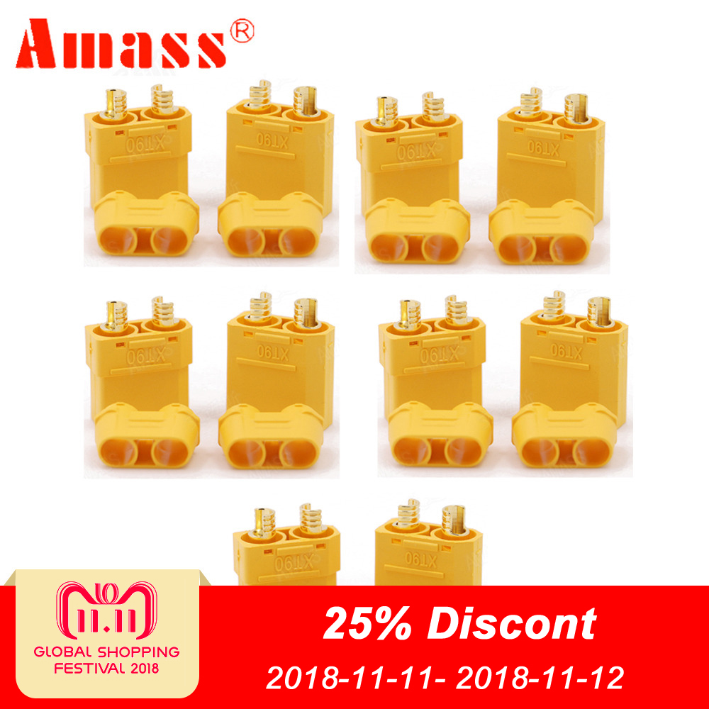 5Pair/lot Amass XT90+ Plug Connectors Male Female For RC Model Battery цена