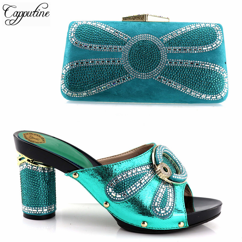 Capputine New Arrival African Shoes And Bag Set Green Color Italian Decorated with Rhinestone Ladies Shoe With Party Bag Set new fashion green color decorated with diamonds african shoes and bag set for party in women italian matching shoe and bag sets