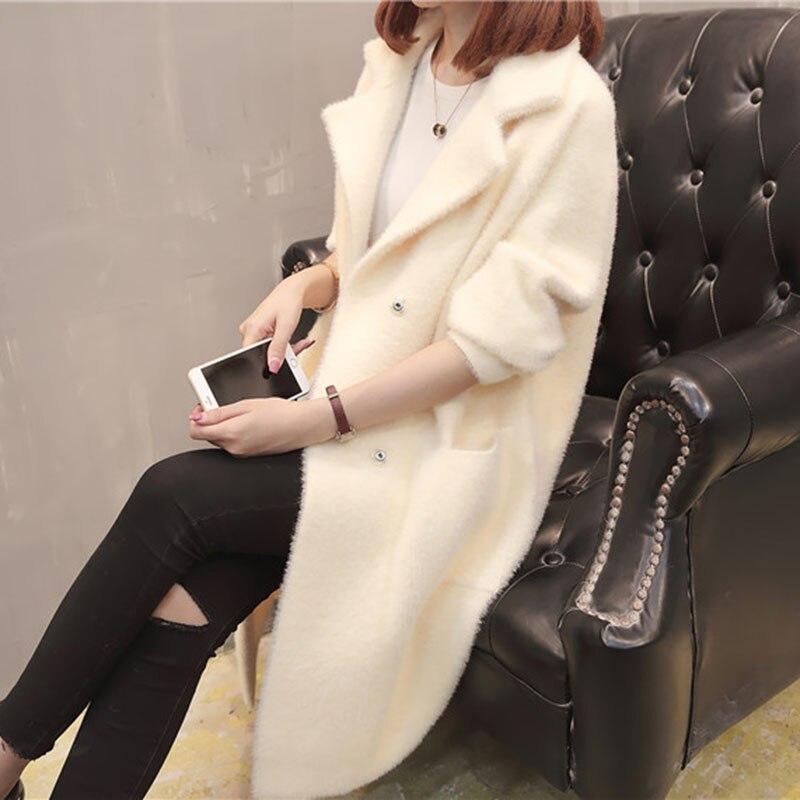 Autumn And Winter Cashmere Sweater Women 2018 Korean Long Cardigan Sweater Women Jacket Imitation Water Velvet Coat Women