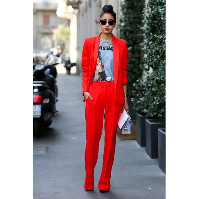 Veste + pantalon rouge femmes d'affaires costumes Blazer femme bureau uniforme 2 pièces costumes dames hiver costumes formels femmes pantalon costume