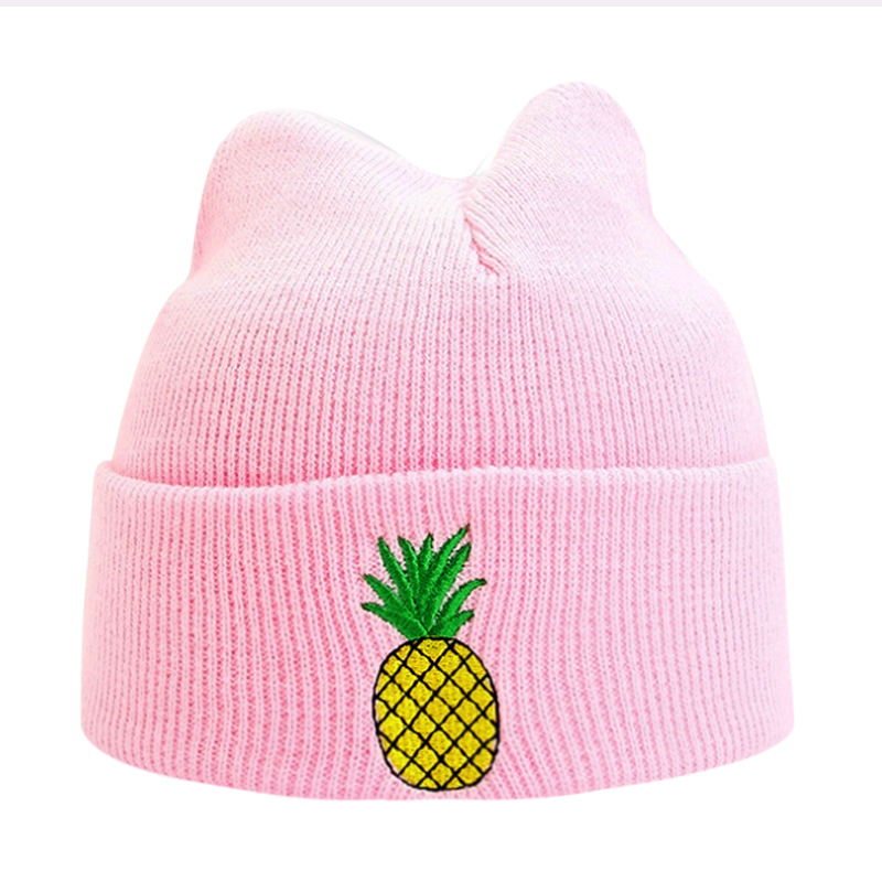 Fashion Pineapple Printed Winter Skullies Beanies Hat Pink knitted Cap Gray Blue Hats Black Girl Casual White Warm Bonnet Caps игрушка ecx ruckus gray blue ecx00013t1