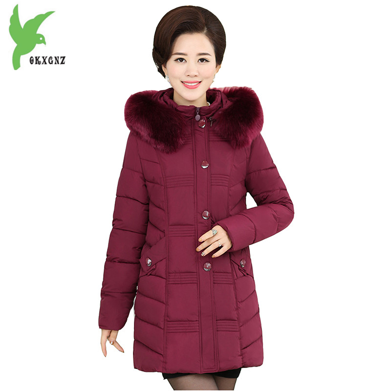 Winter Women Down Cotton Coat Hooded Fur Collar Casual Costume Plus Size New Fashion Solid Color Thick Warm Outerwear OKXGNZ 798 new winter women cotton jackets solid color hooded long coat plus size fur collar thicker warm slim casual outerwear okxgnz a795
