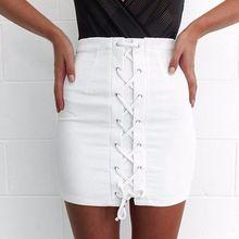 cb58ce3050 Moda elegante del vendaje de las mujeres botón hasta lavados Denim lápiz  Delgado falda sólida alta