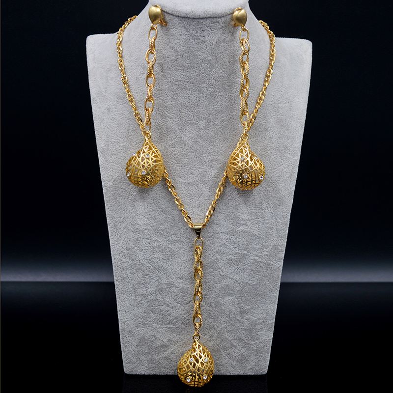 Sunny Jewelry Fashion Jewelry 2019 Long Necklace Chain Earrings For women High Quality Zircon Water Drop For Party Wedding DailySunny Jewelry Fashion Jewelry 2019 Long Necklace Chain Earrings For women High Quality Zircon Water Drop For Party Wedding Daily