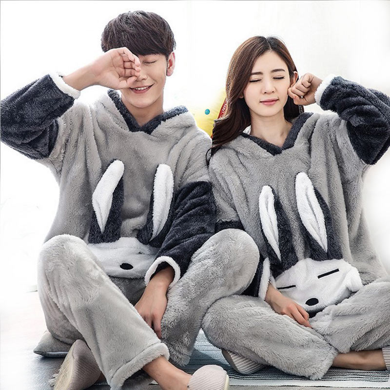 Winter Couple   Pajama     Sets   Long Sleeves Homewear Hooded Thicker Warm Sleepwear Home Suit Female Animal Home Clothes For Women Men