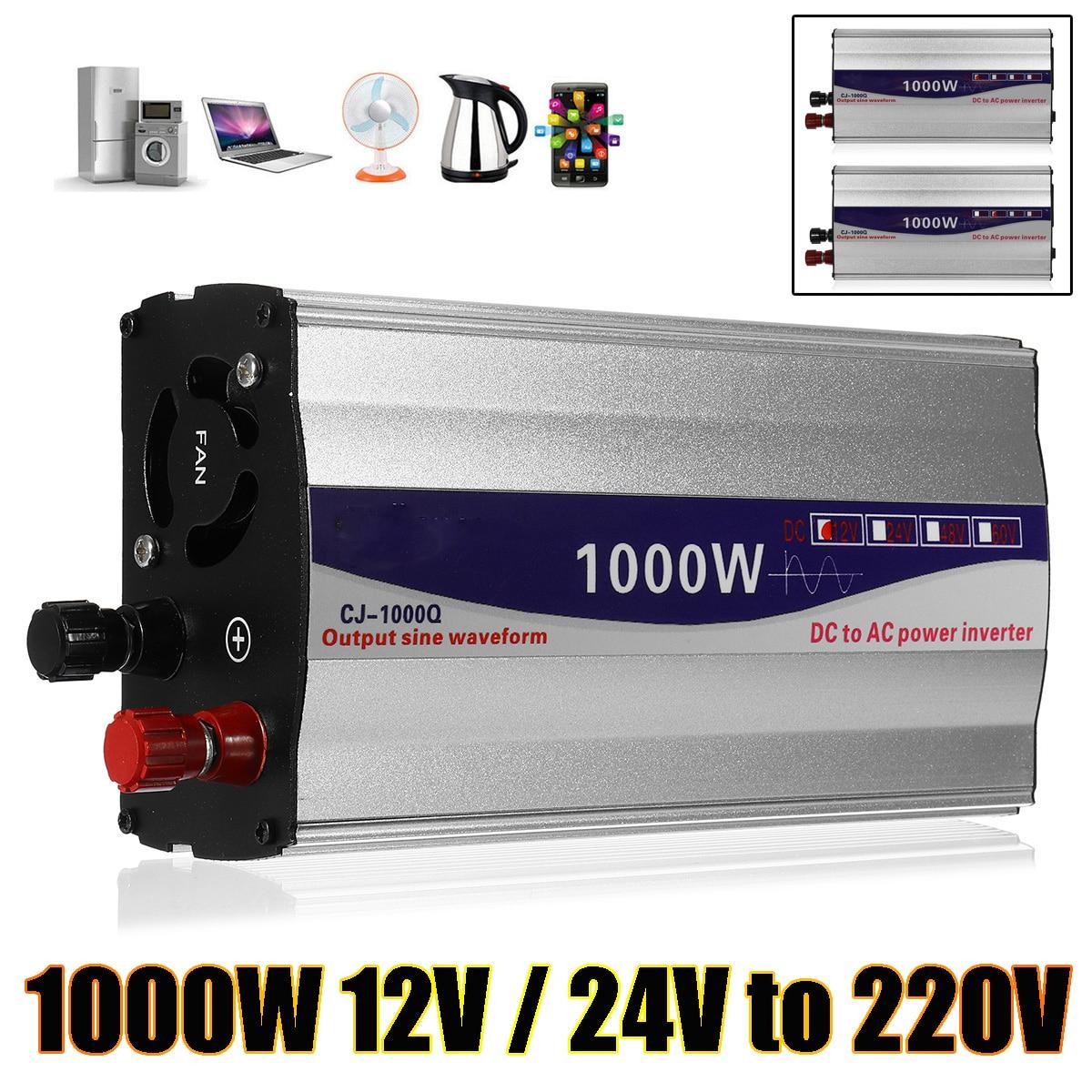 1000 Вт мощность Инвертор 12 В в/24 В в чистая синусоида USB к AC мощность 220 В инвертор питание для автомобиля бытовая техника