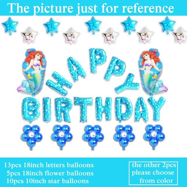 30pcs Lot Little Mermaid Balloons Princess Ariel Foil Birthday Letter Set For Girl Happy