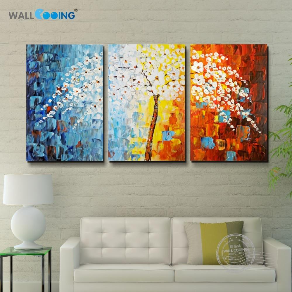 3 paneles 100% lienzo pintado a mano pintura árbol de la fortuna - Decoración del hogar