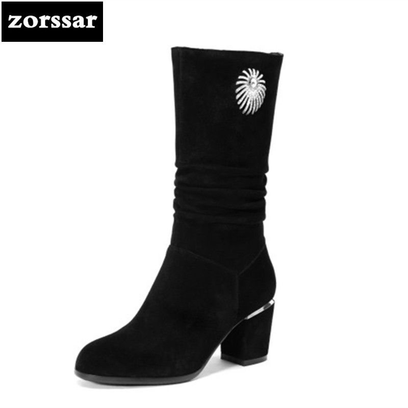 {Zorssar} Fashion Suede Leather Boots Women Cow Suede Thick High heels Mid-Calf Boots Autumn Winter Fur Women Boots Big Size 43 2015 fashion luxury diamond flower design manual sticked shining purple genuine leather big fur boots mic calf high