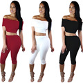 Free Shipping 2016 New design top off the shoulder bodycon rompers 2 piece knee length summer women sets
