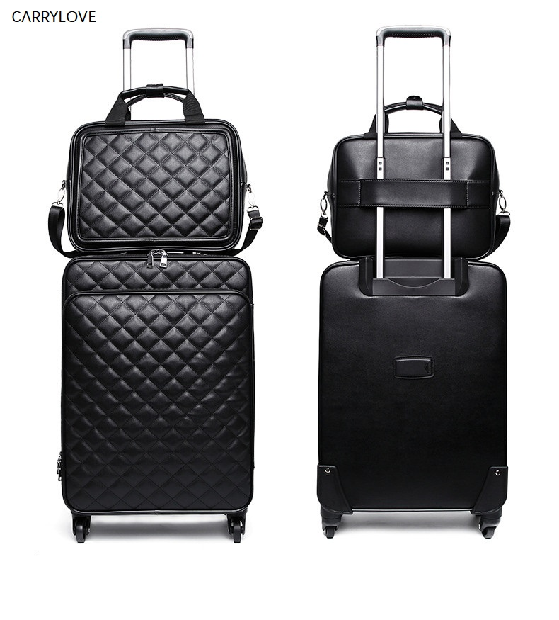 CARRYLOVE Fashion high quality women spinner rolling luggage set 24 inch ladys cabin trolley bag leather travel suitcase 20CARRYLOVE Fashion high quality women spinner rolling luggage set 24 inch ladys cabin trolley bag leather travel suitcase 20