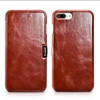 For iPhone 7 Plus Case iPhone 7 iCarer Classic Genuine Leather Flip Phone Case For iPhone 7 Plus Cowhide Leather Phone Bags Case