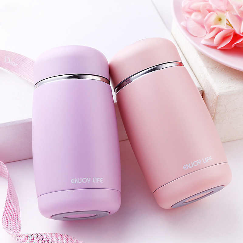 Cute Kids Thermos Feeding Cup Stainless Steel Vacuum Flask Student Leak-poof  Insulation Bottle Girls Thermal Cup 250ML