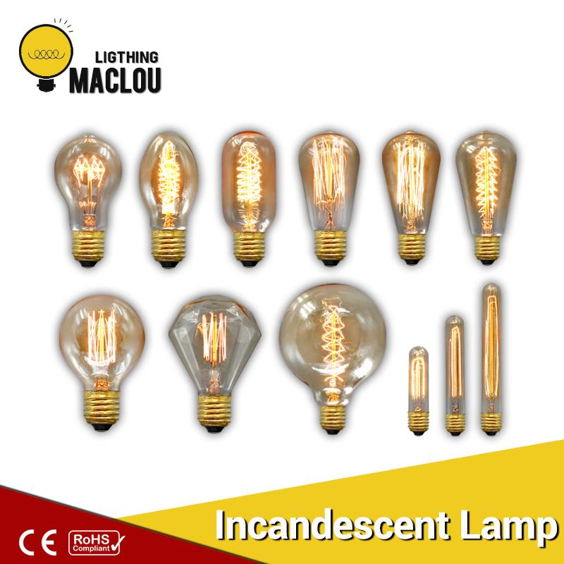 Vintage Edison Bulb G80 G95 ST64 E27 220V 40W Retro Lamp Vintage Light Bulb Edison Lamp Incandescent Light Decor Filament vintage edison bulb g80 g95 st64 e27 220v 40w retro lamp vintage light bulb edison lamp incandescent light decor filament